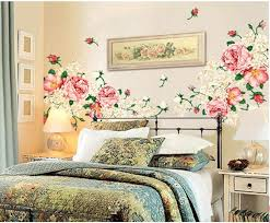 Large Romantic Peony Floral Wall Decal Pink Flower Wall Etsy