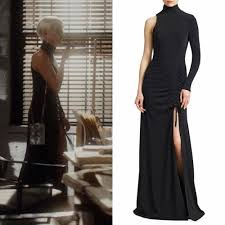 """Ada Stone wears this black Cinq à Sept one-shouldered high-neck """"Francoise""""  ruched silk gown on Dynasty 2x04 