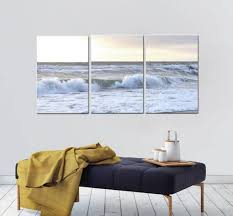 3 piece wall art ocean beach canvas