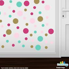 Hot Pink Mint Green Baby Pink Gold Polka Dot Circles Wall Decals Polka Dot Circles Decalvenue Com Decal Venue