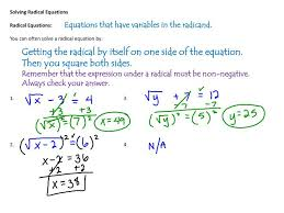 ppt solving radical equations radical