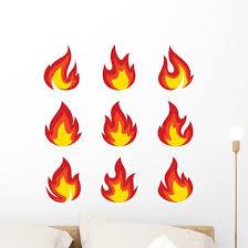 Set Icons Flame Fire Wall Decal Sticker Set Wallmonkeys Com