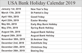 US Holidays Calendar 2019 Free To Print ...