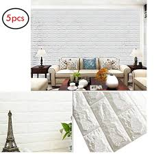 5 Pack3d Brick Wall Sticker Self Adhesive Wall Tiles Peel To Stick Wall Decorative Panels For Living Room Bedroom White Walmart Com Walmart Com