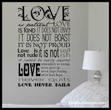 Scripture Love Is Patient Love Is Kind Inspired By 1 Corinthians 13 4 8 New Testament Verse Vinyl Wall Decal Sold By Decal Drama On Storenvy