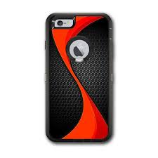 Skin Decal For Otterbox Defender Iphone 6 Plus Case Red Twist Black Metallic Itsaskin Com