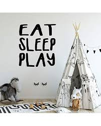 New Deals On Playroom Wall Decal For Boy And Girl Kids Unique Vinyl Eat Sleep Play Lettering Available In Small And Large Sizes And Blue Pink Purple Black White Other Bright