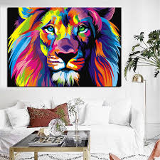Big Size Pop Art Print Colorful Lion Animals Abstract Oil Painting On Canvas Poster Modern Wall Art Picture For Kid Room Decor Painting Calligraphy Aliexpress