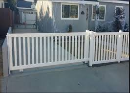 Vinyl Sliding Picket Driveway Gate Backyard Fences Fence Design Vinyl Fence