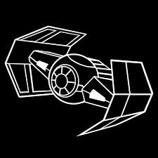 Amazon Com Darth Vader Tie Fighter 6 Vinyl Sticker Car Decal 6 White Arts Crafts Sewing