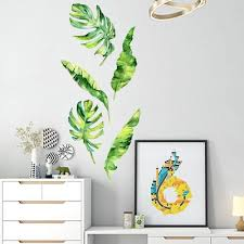 Summer Tropical Green Plants Leaves Wall Sticker Vinyl Decals Home Decorations Buy At A Low Prices On Joom E Commerce Platform