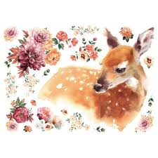 Roommates Watercolor Fawn Peel And Stick Giant Wall Decals Rmk4307slm The Home Depot