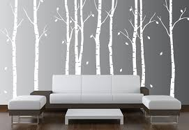Amazon Com Birch Tree Wall Decal Nursery Forest Vinyl Sticker Removable Animals Branches Art Stencil Leaves 9 Trees 1263 Matte White 108 9ft Tall Home Kitchen