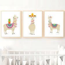 Cartoon Llama Cactus Nursery Wall Art Canvas Painting Nordic Posters And Prints Wall Pictures Baby Kids Room Art Prints Decor Painting Calligraphy Aliexpress