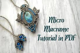 micromacrame pendant necklace with oval