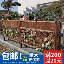 Outdoor Wooden Restaurant Balcony Outdoor Courtyard Fence Partition Planter Anticorrosive Wood Fence Flower Pot Flower Rack Shelf
