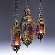multi colour glass lantern