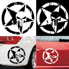 Auto Punisher Star Skull Pentagram Car Sticker Vinyl Decal Truck Window 13x13cm Sticker Set Police Officer Gifts Decals Stickers