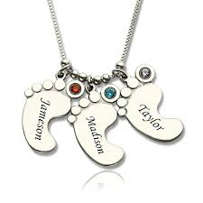 personalized mothers necklace baby feet