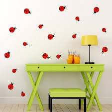 Ladybug Wall Decal Set Of 17 Ladybugs Ladybirds Wall Etsy