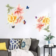 Amazon Com Derun Trading Iris Blossom Flowers Floral Peel And Stick Wall Stickers Decals Art Decor For Living Room Nursery Room Bedroom Office Bathroom Vinyl Removable Wall Decoration Romantic Beautiful Lovely Kitchen