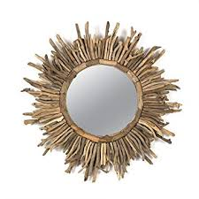 co op round driftwood sun burst mirror