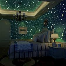 Non Woven Luminous Wallpaper Roll Stars And The Moon Boys And Girls Ch