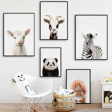 Baby Animals Nursery Decor Cute Zebra Duck Panda Pig Hippo Animals Can Nicerin Best Goods Free Shipping