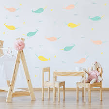 Pastel Narwhal Wall Decals Labeldaddy