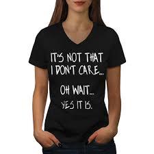 wellcoda i dont care womens v neck t shirt sarcastic quote