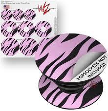 Decal Style Vinyl Skin Wrap 3 Pack For Popsockets Zebra Skin Pink