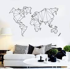 Vinyl Wall Decal Abstract Map World Geography Earth Stickers Unique Gi Wallstickers4you