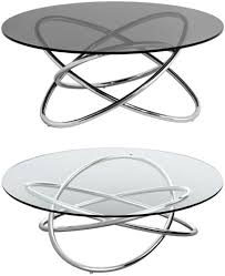 round coffee table chrome and glass