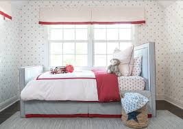 Baby Blue Kids Bed With With Blue And Red Bedskirt Traditional Bedroom