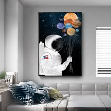 Kids Room Wall Decor Cartoon Astronaut Posters And Print On Canvas Outer Space Wall Art Hanging Pictures For Home Decor Unframed Painting Calligraphy Aliexpress