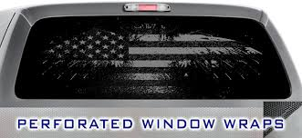 Amazon Com Dark Pride 005 Window Wrap Distressed American Flag Black Grey Truck Car Rear Decal Sticker Kitchen Dining
