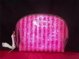striped vinyl glitter cosmetic bag