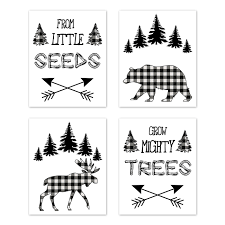 Forest Animals Plaid Wall Art Prints Room Decor For Baby Nursery And Kids By Sweet Jojo Designs Set Of 4 Black And White Buffalo Check Bear Moose Arrow Only 29 99