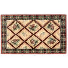 pinecone plaid bath rug 2 x 4