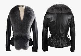 fur lined leather jacket png file
