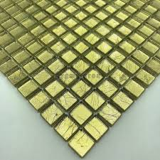mosaic tile glass leaf gold color for