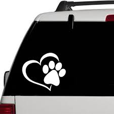 Heart Dog Paw Print Vinyl Car Decal Sticker Window Footprint Puppy Paws Laptop Wish