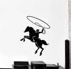 Vinyl Wall Decal Cowboy Boys Room Texas Wild West Horse Lasso Stickers Wallstickers4you