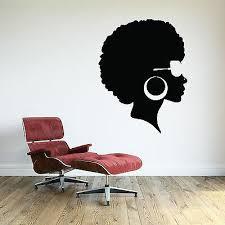 African Woman Wall Decal Glamour Girl Face Vinyl Sticker Afro Art Stylist Office Ebay