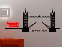 London Tower Bridge Bus Wall Art Sticker Decal Kids Lounge Kitchen Bedroom Ebay