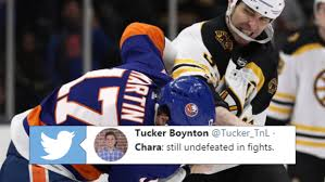 42-year-old Zdeno Chara sends Matt Martin to the ice and then checks to see  if he's okay - Article - Bardown