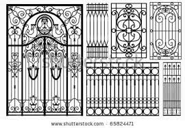 Wrought Iron Gate And Fence Vector 65824471 Shutterstock Wrought Iron Gate Iron Gate Wrought Iron Gates