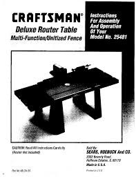 Craftsman 17125481 User Manual Router Table Manuals And Guides L0909496