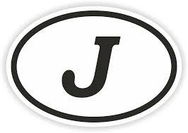J Alphabet Letter Oval Sticker Bumper Decal Car Motocross Motorcycle Aufkleber Ebay