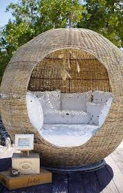 attractive rattan ball seating area